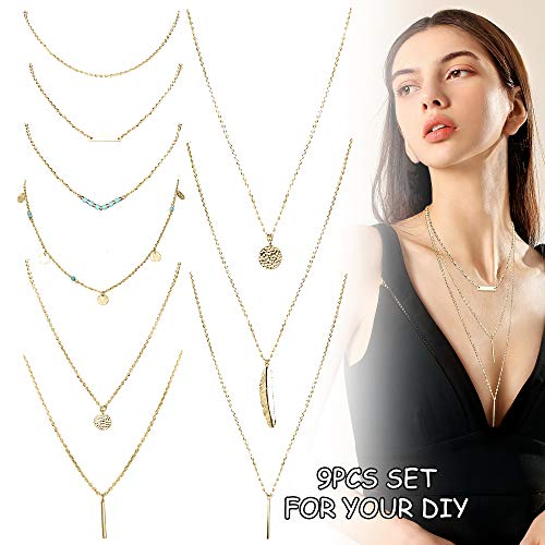 (FUNRUN JEWELRY 9PCS Multilayer Y Necklace for Women Stick Bar Choker Necklace Set with Long Chain Bohemian Gold Plated)