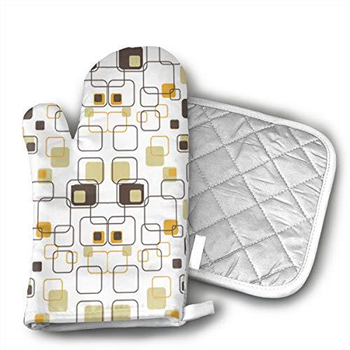 ZORITO Oven Mitt & Potholder Retro Squares Oven Glove Combination Kitchen Counter Safe Non-Slip Heat Resistant.