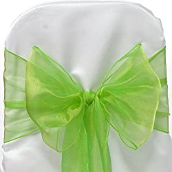 Firefly Imports Homeford Organza Chair Bows Sash, Apple Green, 9-Inch by 10-Feet