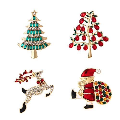 YSD Jewelry Christmas Brooch Pins Set Holiday Brooch Christmas Tree Snowman Xmas Pin Lot Party Favor Christmas Brooch Pin Set Gifts