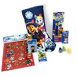 PAW PATROL Christmas Stocking BLUE Filled with Chase PEZ Dispenser and Candy, Figurines and More Includes Six Stocking Stuffers