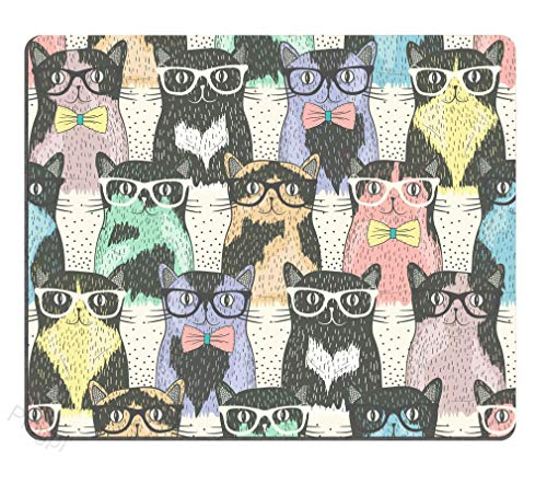 HAPPY-M Funny Mouse Pad Custom,Hipster Cute Cats Wear Sunglasses Mouse pad 8.66x7.08 Inch (220mmX180mm) ()