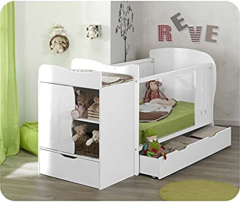 Mobikids - Pack cuna evolutiva BELÉN blanca con colchón: Amazon.es: Bebé