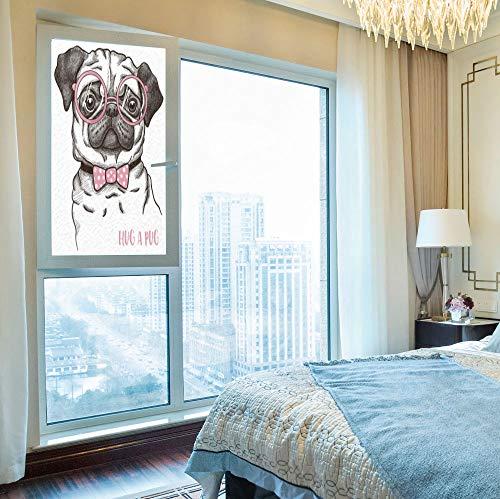 YOLIYANA 3D Antifouling Window Film,Pug,for Toilet Bathroom Balcony,Cute Pug with Pink Bow Tie Oversized Glasses,24''x48''