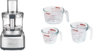 Cuisinart FP-8SV Elemental 8 Cup Food Processor, Silver & Pyrex Glass Measuring Cup Set (3-Piece, Microwave and Oven Safe),Clear