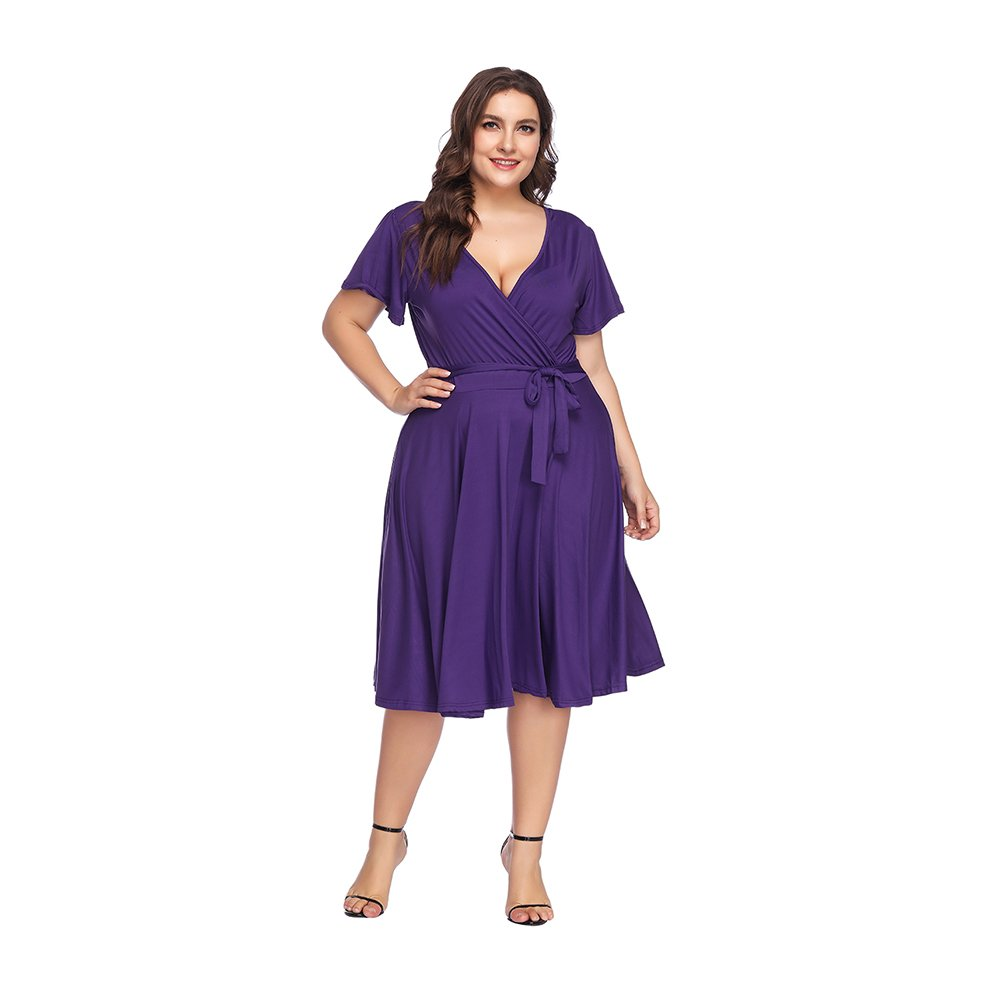 TALLA (EU58-60)4XL. Lover-Beauty Vestido Largo Mujer Talla Grande Moda Bolsillo Top Falda para Fiesta Verano Manga Corta Floral Estampada Suleto Moda de Ropa Elegante Maxi Violeta (EU58-60)4XL