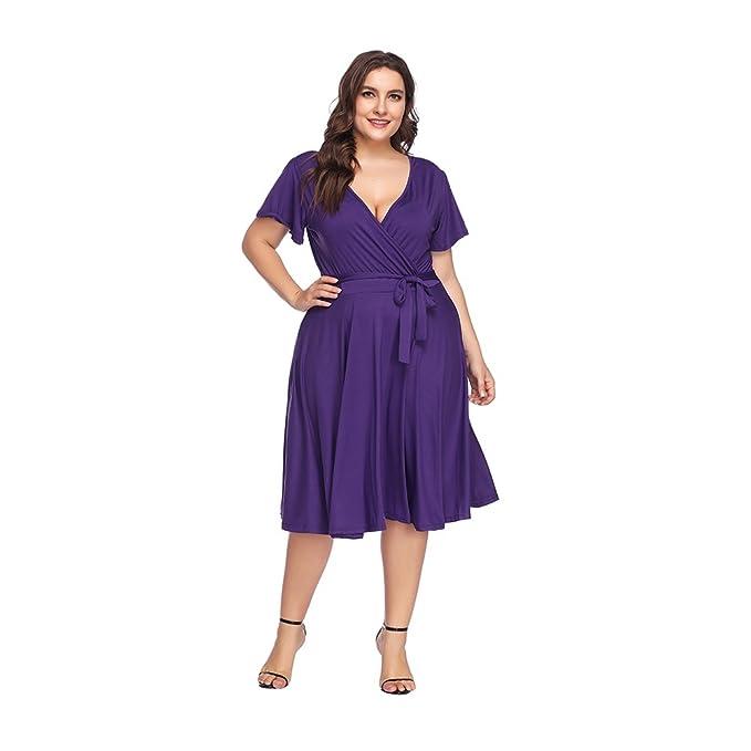 Vestido Largo Mujer Talla Grande Moda Bolsillo Top Falda para Fiesta Verano Manga Corta