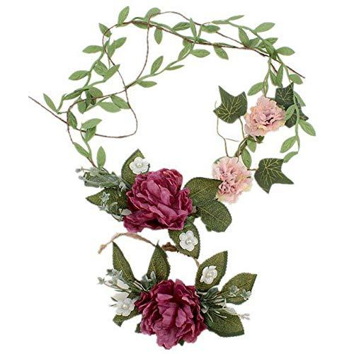 - Flower Crown Wedding Party Bohemia Girls Baby Flower Headband Wrist Flower (Colors - Purple)