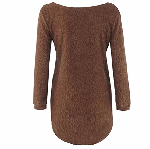 Tunique Chemise Solide Chandail Chaud Rond Hiver Slim Top Blouse Femme Landove Maille Jumper Asymetrique Long Pull Sweater Haut Longues fit Casual Manches Marron Col Tricot nqaAYpXP