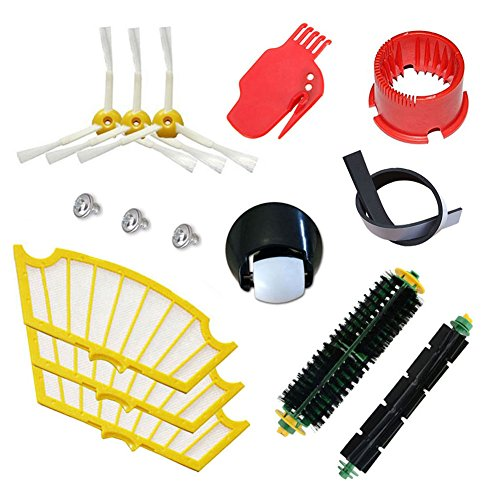 Theresa Hay Bristle & Flexible Beater Brush & Side Brush and Filter & Cleaning tool & Caster Wheel for iRobot Roomba 500 Series Vacuum Parts