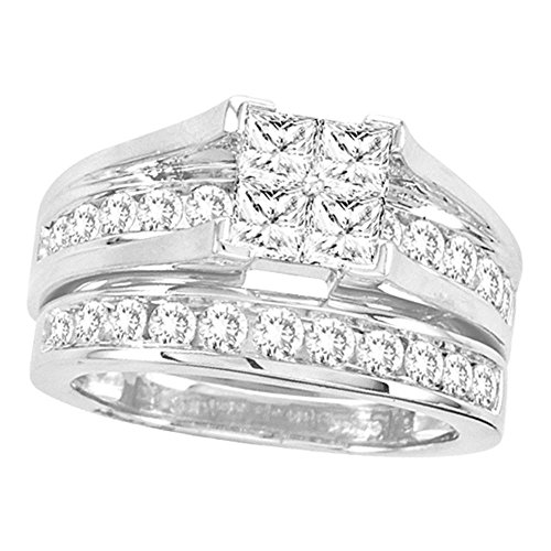 Jewels By Lux 14kt White Gold Womens Princess Diamond Bridal Wedding Engagement Ring Band Set 2.00 Cttw = 2 (I1-I2 clarity; G-H color) Ring Size 11