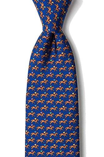 Kentucky Derby Jockey Silks - Men's 100% Silk Equestrian One Horse Race Racing Kentucky Derby Tie Necktie (Blue)