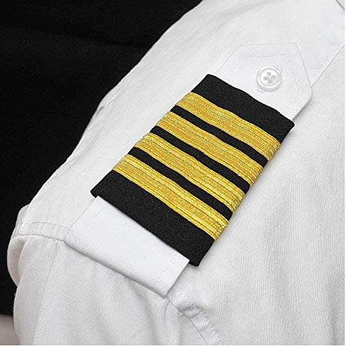 Aero Phoenix Professional Pilot Uniform Epaulets - Four Bars - Captain - Gold Metallic on Black