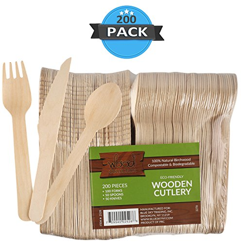 Price comparison product image wood collection Disposable Bamboo Cutlery Set By (Pack Of 200 Utensils) / 50 Knives,  50 Spoons & 100 Forks From Natural & Biodegradable Birchwood / Compostable Wooden Tableware For Parties.