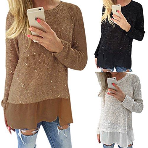 Lisli Women Sexy Glitter Long Sleeve Casual Knit Sweater Tops Blouse T Shirt 51 2Bf5lEzQHL
