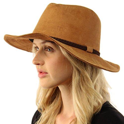 Winter Fall Faux Suede Panama Fedora Safari Bohoemian Belt Wide Brim Hat Camel