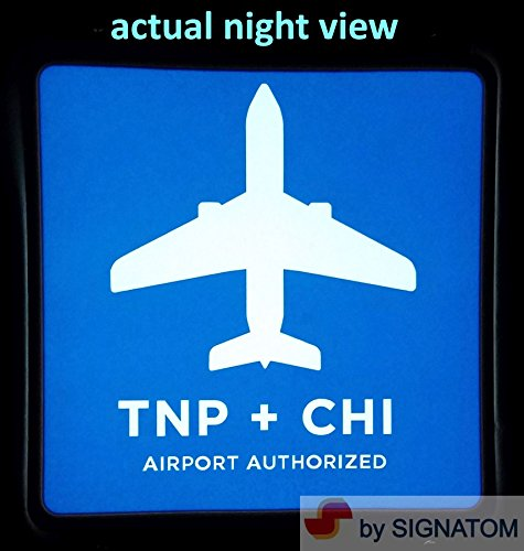 TNP + CHI SIGN LIGHT SIGNATOM TC-1000 - 6 X 6 INCH SQUARE CHICAGO AIRPORT LIGHTED STICKER DECAL - NO BATTERIES NEEDED - DC5V USB POWER - 4 SUCTION CUPS (Night Glow Go Back Sign)