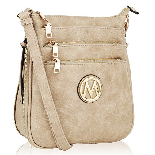 (MKF Crossbody Bags for women - Adjustable Strap - Vegan Leather - Crossover Side Messenger Womens Purse Taupe)