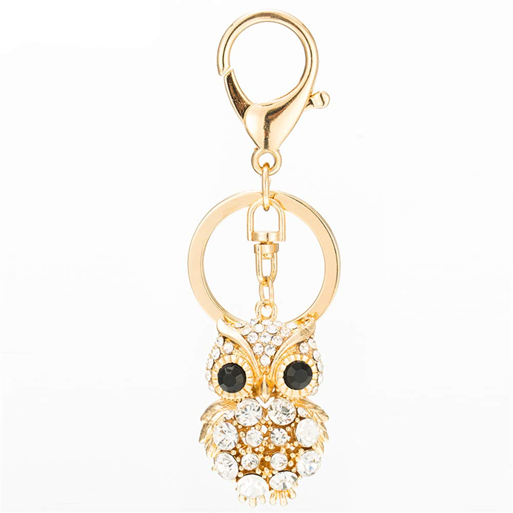 Cute Kawaii Rhinestone Animal Owl Shape Auto Key Ring Hooks Keychain for Women Purse Bag Charms Ornaments (Golden)