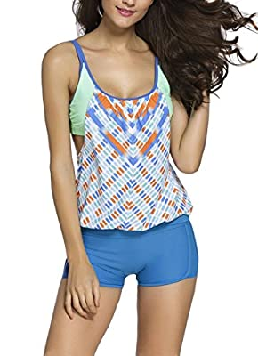 Saludar Women Push Up Tankini With Panty Two Pieces Swimsuit Set
