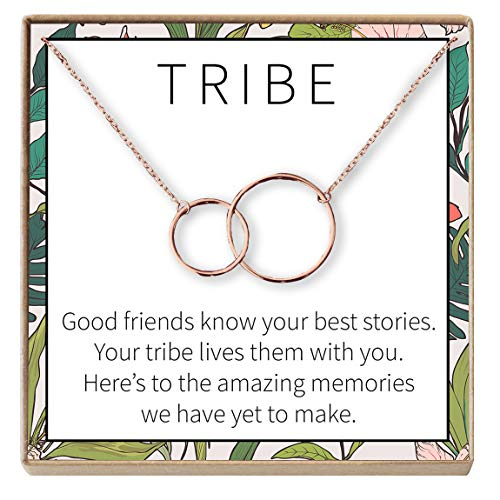 Dear Ava Necklace: BFF, Long Distance, Friends Forever, 2 Interlocking Circles (Rose-Gold-Plated-Base, NA)