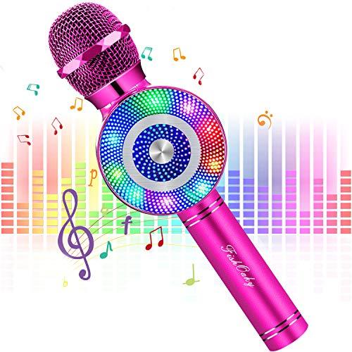 Micrófono Karaoke Bluetooth 4 en1 Micrófono Inalámbrico Altavoces con Luces LED, Portátil Karaoke para Niños Cantar, Función de Eco, Compatible con Android/iOS Teléfono