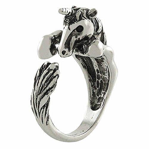Ellenviva Enhanced Unicorn Animal Wrap Ring White Gold-Plated Shiny Silver Tone- Size 6 ()