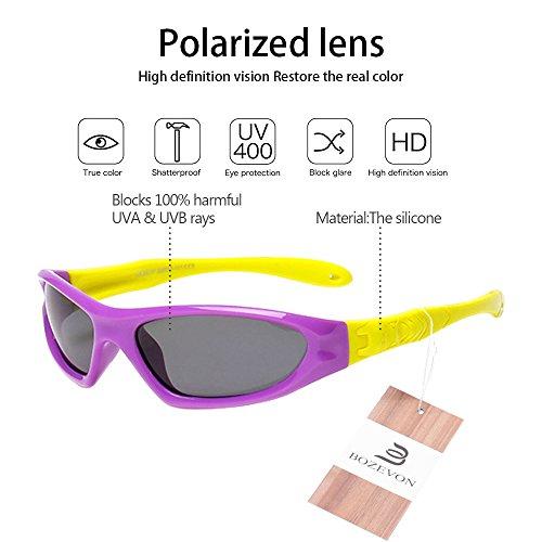 BOZEVON Lunettes de Soleil Polarisées pour Enfants Monture en caoutchouc flexible Garçons Filles Sport Lunettes Violet/Jaune