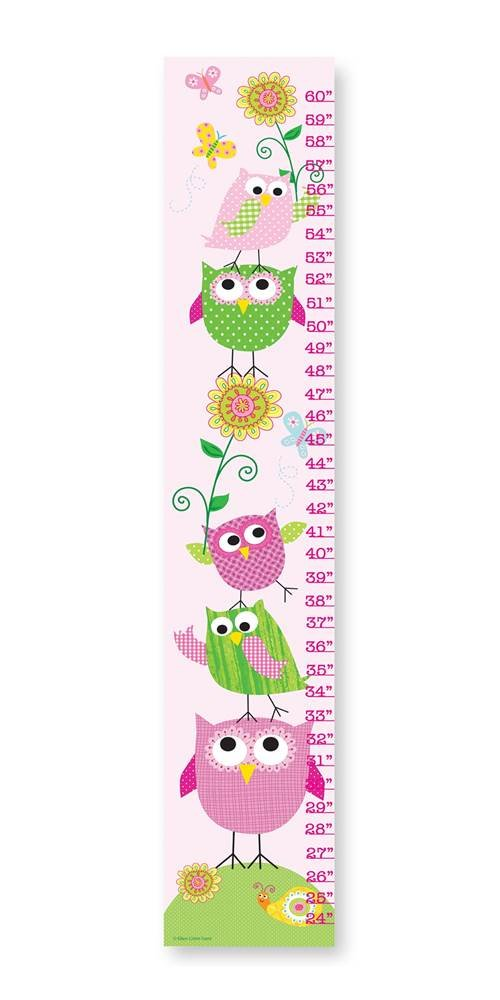 The Kids Room by Stupell Pink and Green Owls with Smiling Snail Growth Chart, 7 x 0.5 x 39, Proudly Made in USA by The Kids Room by Stupell
