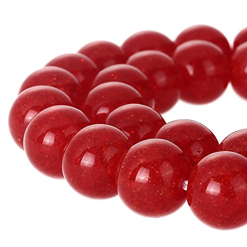 RUBYCA Round Crackle Druk Czech Crystal Pressed Glass Beads for Jewelry Making 6mm Strand - Glass Czech Druk 6mm Beads