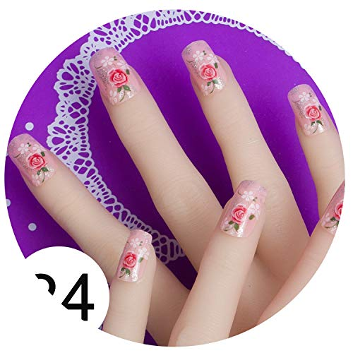 Nail Tools Adaptable 24 Pcs False Fingernails New Faux Ongles Printed Acrylic Nail Tips Art Design Fake Nails With Glue Buy Now