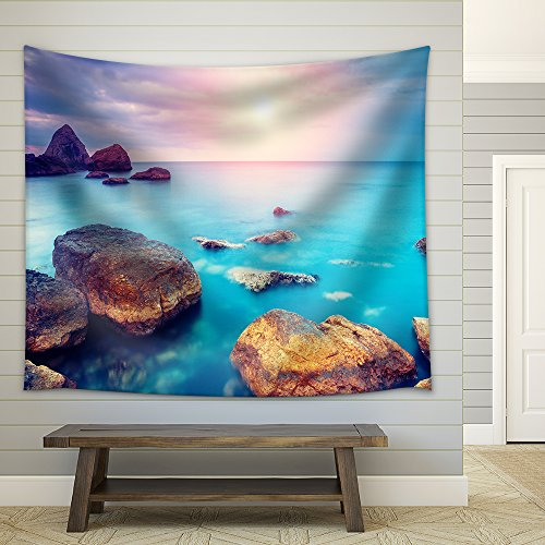 Fantastic Morning Blue Sea Glowing by Sunlight Dramatic Scene Fabric Wall