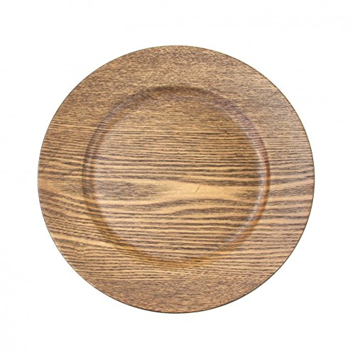 "Koyal Wholesale 424675 Faux Wood Charger Plates, 13"", Walnut"