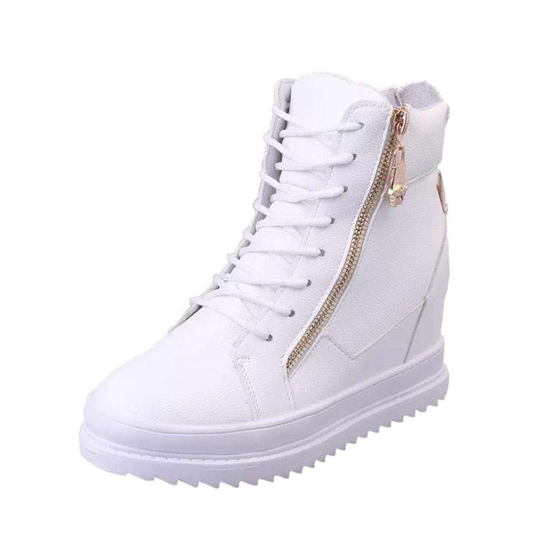 Womens Lace-up Ankle Booties   Fashion High-Top Zipper Sneakers   Low Heels Combat Boots Shoes by Inkach (38/US:7, White)