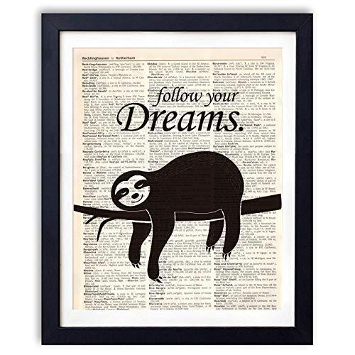 Ihopes Yoga Vintage Book Art Print - Funny Sloth Meditation Gifts Decor - Sloth Gifts - 8x10 Unframed