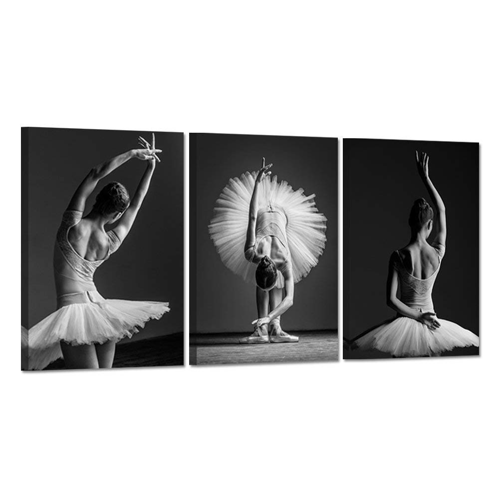 Hello Artwork - Dancing Girls Modern Large Contemporary 3 Panels Beautiful Ballerina Dancers With White Tutu Stretched Gallery Canvas Wrap Giclee Print Modern Wall Decor Ready To Hang 16''x24''x3pcs