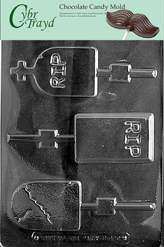 Cybrtrayd H119 Halloween Chocolate Candy Mold, Assorted Size Headstones -