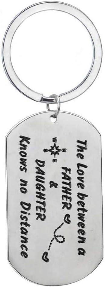 AGMKV Llavero Etiqueta de Perro Llaveros de Acero Inoxidable El Amor Entre un Padre y su Hija no Sabe Distancia Llaveros Papá Regalos del día del Padre Caliente