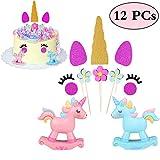 VAMEI Unicorn Cake Topper 12 Pack Unicorn Eyelashes Horn Ear Flowers for Baby Shower Wedding Birthday Party Cake Decorations