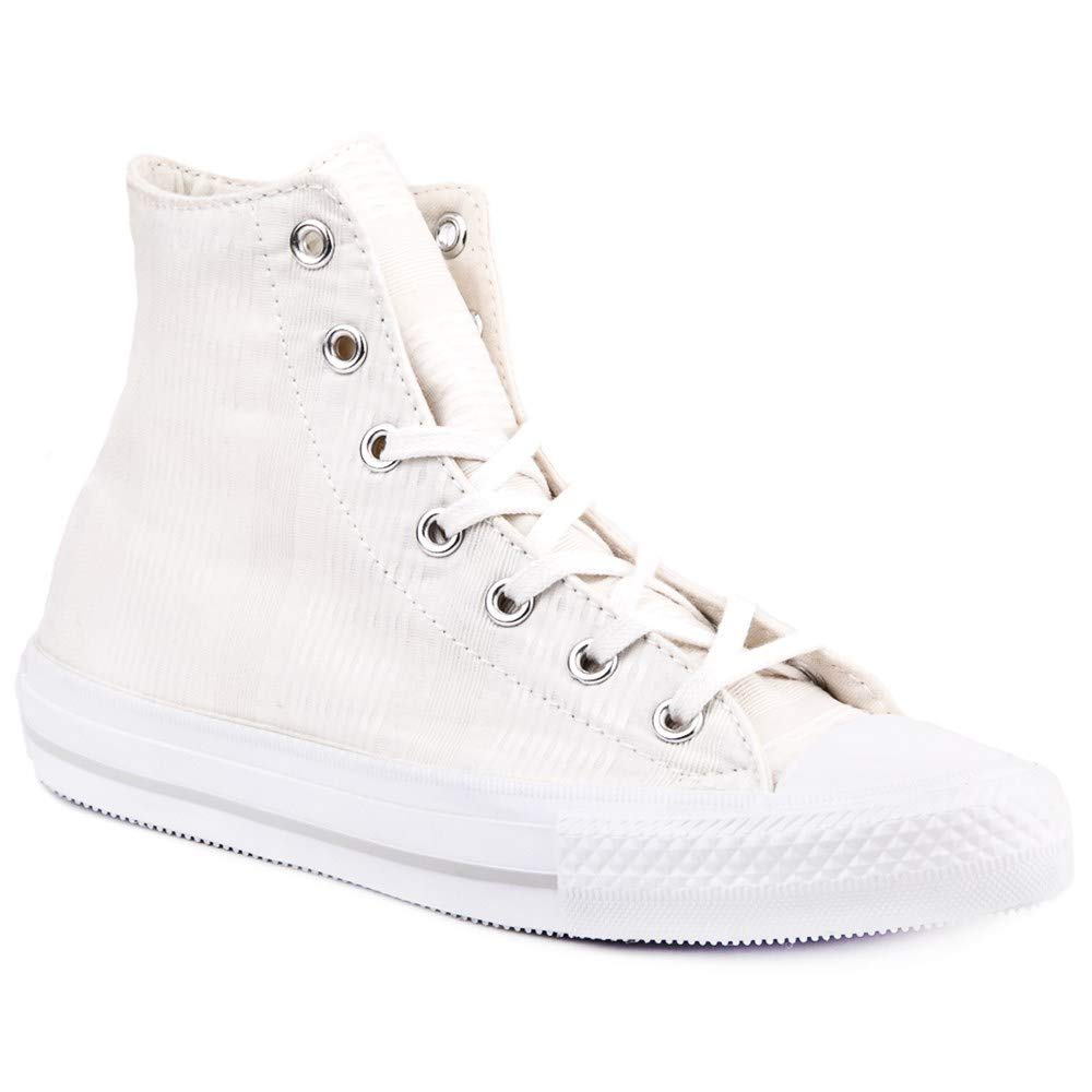 Converse Chuck Taylor All Star High Top Sneaker (8 M US, White/Mouse/White)