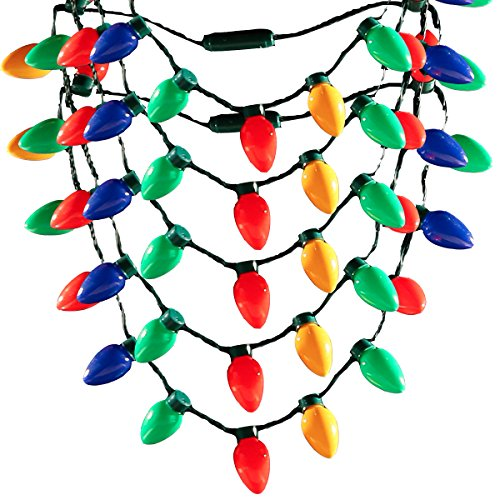 LED Light Up Christmas Bulb Necklace String Light Party Favors for Adults or Kids Holiday - (5 pack)]()