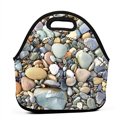 Miniisoul Portable Bento Bag Pebble Stone Pattern Art Reusable Lunch Bag Waterproof Picnic Tote Insulated Cooler Zipper Box - Sooners Oklahoma Pebble