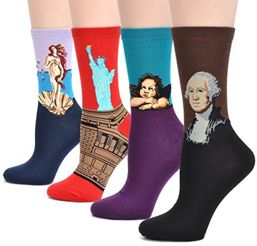 Field4U 4 Pairs Women's Famous Painting Art Printed Casual Crew Socks - Painting C , One Size