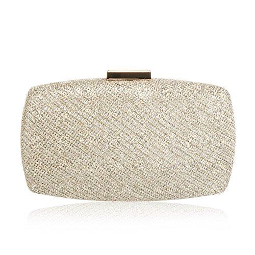 Hard Evening hot Gold Fashion Case WALLYN'S Womens Bag Purse wedding Clutch gYwqqUA