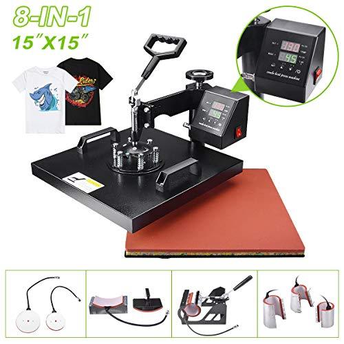 Power Heat Press Machine 8 in 1 Professional Swing Away Heat Transfer 15