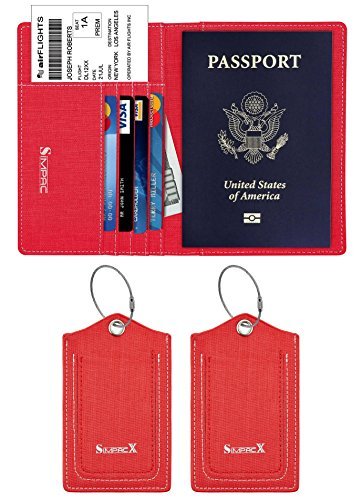 SimpacX Fabric Passport Holder Wallet Cover Case RFID Blocking Travel Wallet (holder plus tag red) by SimpacX (Image #7)