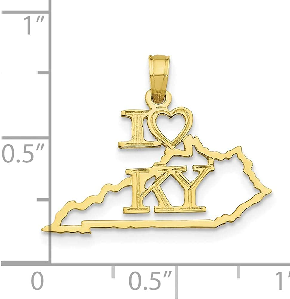 Lex /& Lu 10k Yellow Gold Solid Kentucky State Pendant