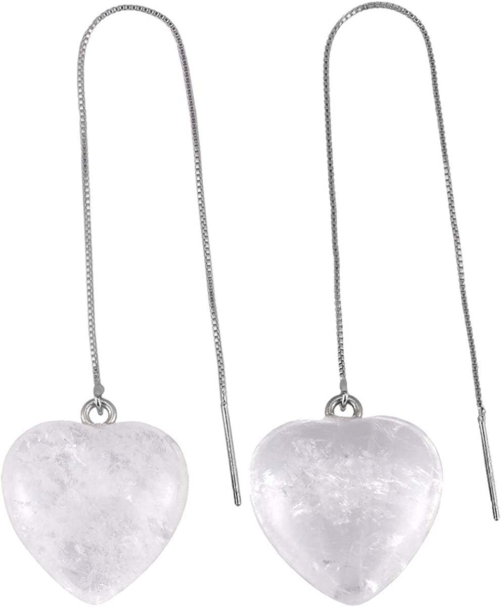 KYEYGWO - Pendientes con forma de corazón enhebrador de aguja, de piedra preciosa de ergia, con cadena larga para mujer