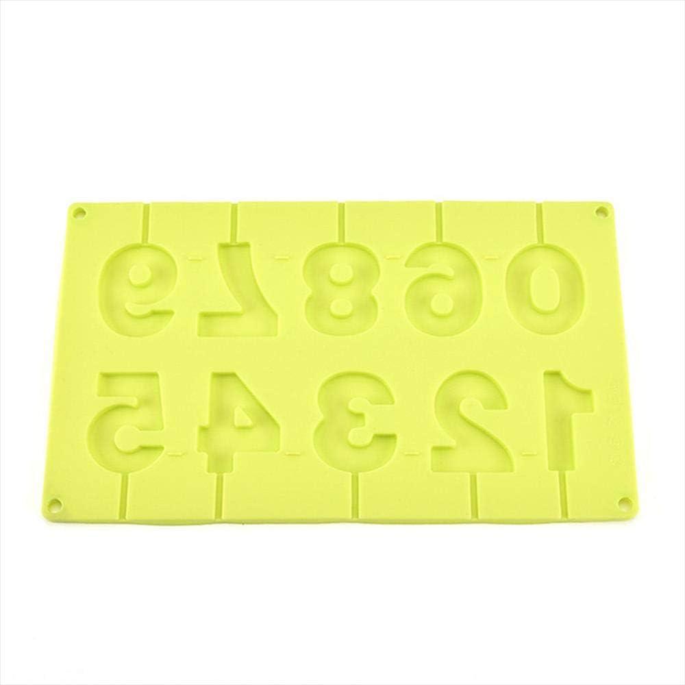 outil de cuisson 0-9 outils de d/écoration de g/âteaux en forme de nombre r/ésistant /à la chaleur bonbons glac/és Moules /à chocolat FERE Moule en sucette en Silicone