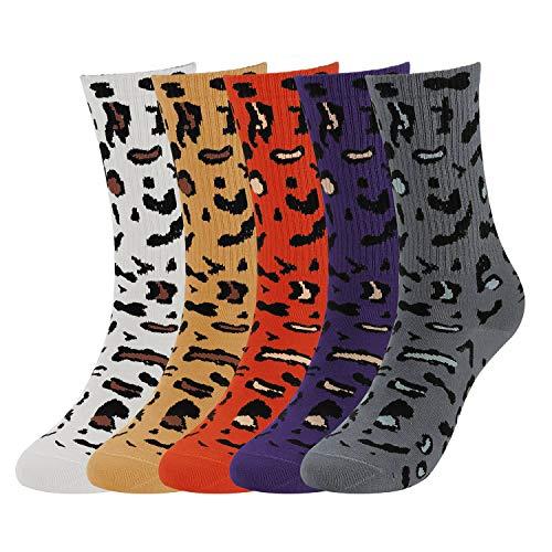 5 Pairs Womens Winter Socks Leopard Print Soft Warm Casual Knit Crew Cotton Socks